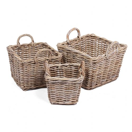 Set of 3 Square Baskets with Ear Handles in Kooboo Grey